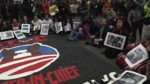 PIcture of protest, next to Deb Lee April 4