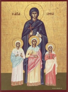 Sophia Byzantine Greek icon with daughters Faith Love and Hope