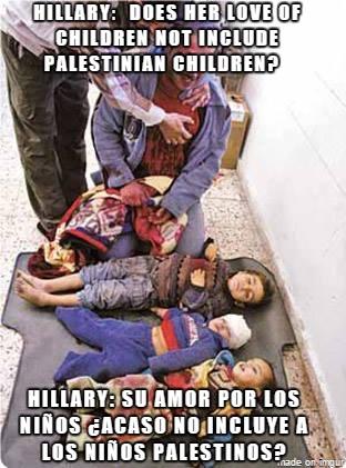 Hillary and Palestinian children