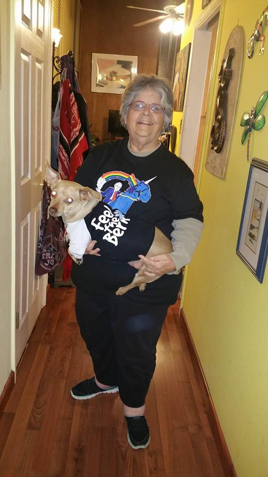 Lucas and his abuela feel the Bern!