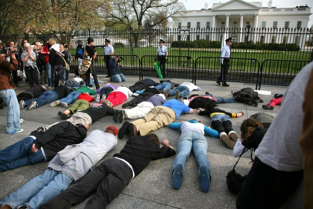 The Die-in in front of the White House this is what love isg